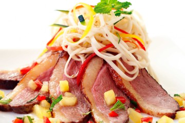 CORIANDER-SPICED DUCK BREAST PINEAPPLE RELISH