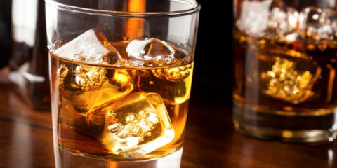 Golden Brown Whisky on the rocks